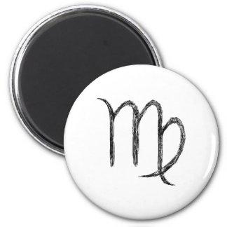 Virgo. Zodiac Astrology Sign. Black. Magnet