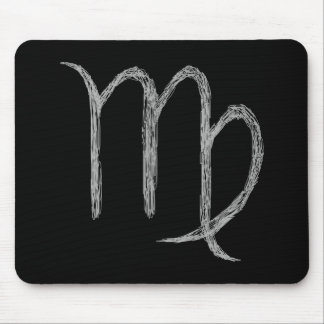 Virgo. Zodiac Astrology Sign. Black. Mouse Pad