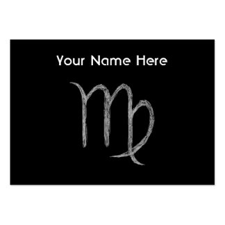 Virgo. Zodiac Astrology Sign. Black. Pack Of Chubby Business Cards