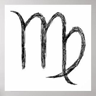 Virgo. Zodiac Astrology Sign. Black. Poster