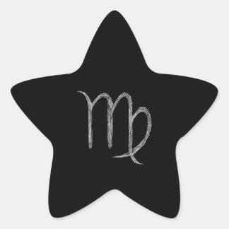 Virgo. Zodiac Astrology Sign. Black. Star Sticker