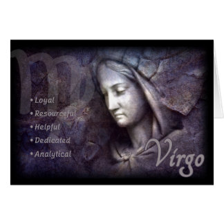 Virgo Zodiac Card with Characteristics
