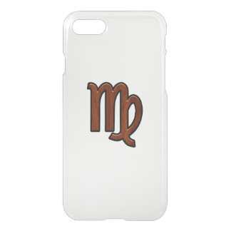 Virgo Zodiac in Mahogany wood style iPhone 7 Case