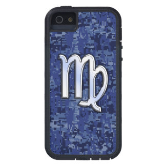 Virgo Zodiac on Navy Blue Digital Camo Decor iPhone 5 Cover