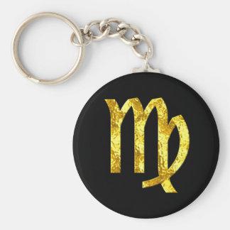 Virgo Zodiac Sign Black Gold Symbol Key Ring