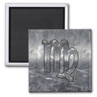 Virgo Zodiac Sign in Grunge Distressed Style Square Magnet