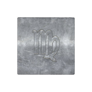 Virgo Zodiac Sign in Grunge Distressed Style Stone Magnet