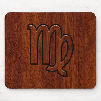 Virgo Zodiac Sign in Mahogany Style Mouse Pad