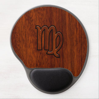 Virgo Zodiac Sign in Mahogany wood style decor Gel Mouse Pad