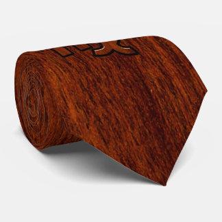 Virgo Zodiac Sign in Mahogany wood style decor Tie