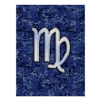 Virgo Zodiac Sign on Blue Digital Camouflage Poster