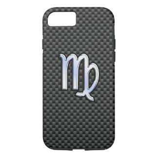 Virgo Zodiac Sign on Charcoal Carbon Fiber Print iPhone 7 Case