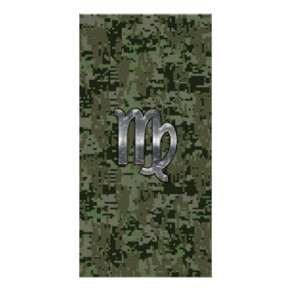 Virgo Zodiac Sign on Green Digital Camo Picture Card