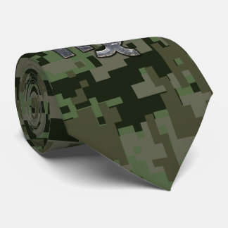 Virgo Zodiac Sign on Green Digital Camo Style Tie