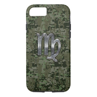 Virgo Zodiac Sign on Green Digital Camouflage iPhone 7 Case