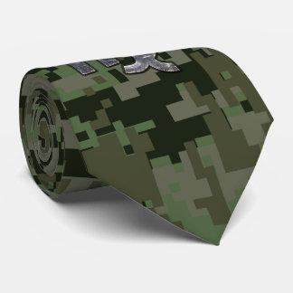 Virgo Zodiac Sign on Military Green Digital Camo Tie