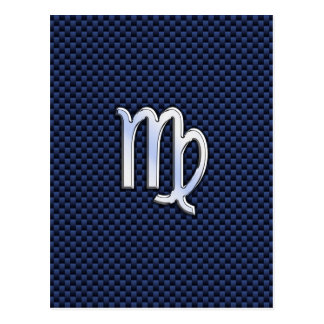 Virgo Zodiac Sign on Navy Blue Carbon Fiber Print Postcard