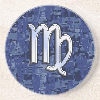 Virgo Zodiac Sign on Navy Blue Digital Camo Drink Coaster