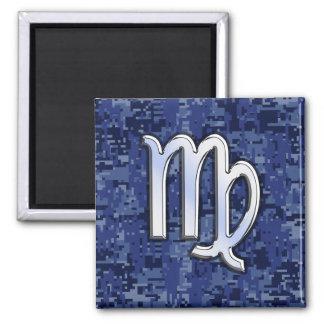 Virgo Zodiac Sign on Navy Blue Digital Camo Square Magnet