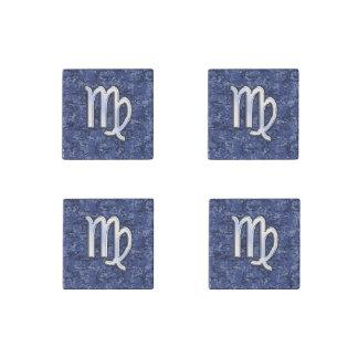 Virgo Zodiac Sign on Navy Blue Digital Camo Stone Magnet