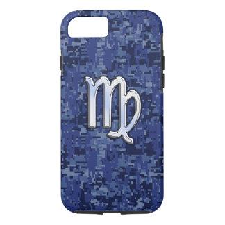 Virgo Zodiac Sign on Navy Blue Digital Camouflage iPhone 7 Case