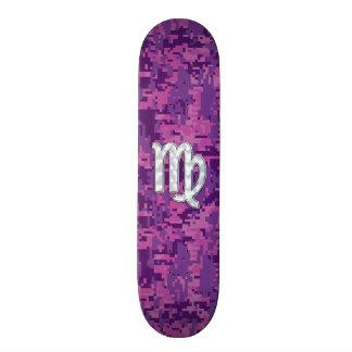 Virgo Zodiac Sign Pink Fuchsia Digital Camouflage Custom Skateboard