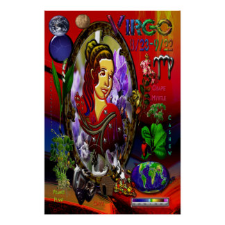 Virgo Zodiac Sign Poster Characteristic Elementss