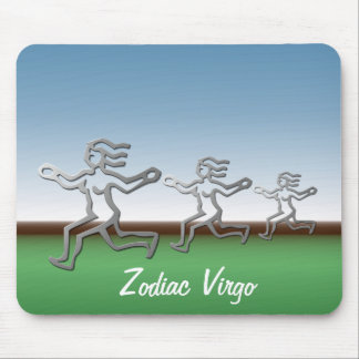Virgo Zodiac Star Sign In Light Silver Mouse Pad