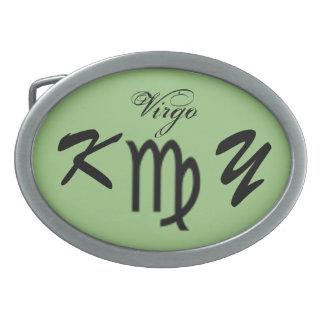 Virgo Zodiac Symbol Standard by Kenneth Yoncich Oval Belt Buckle