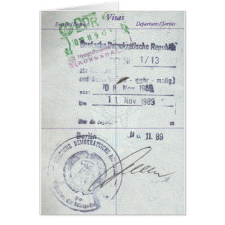 Visa & Entry Stamps from Communist East Germany Card