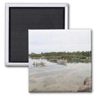 Visayan fishing boats square magnet