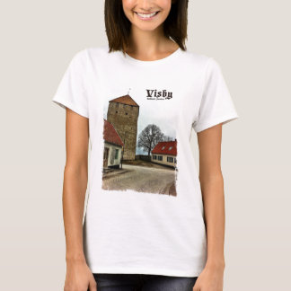 Visby, Gotland, Sweden Tower with Light Border T-Shirt