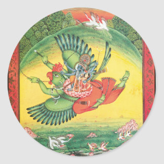 Vishnu and Lakshmi riding Garuda, the great Classic Round Sticker