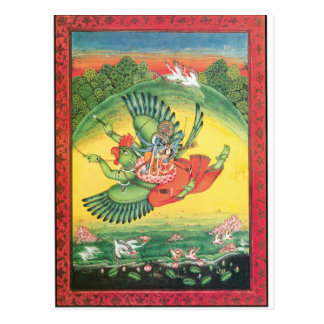Vishnu and Lakshmi riding Garuda, the great Postcard