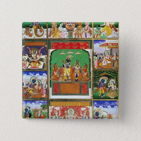 Vishnu in the centre of his ten avatars, Jaipur, R 15 Cm Square Badge
