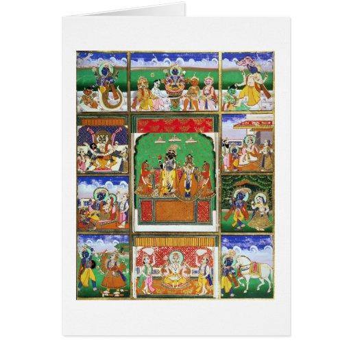 Vishnu in the centre of his ten avatars, Jaipur, R Greeting Cards