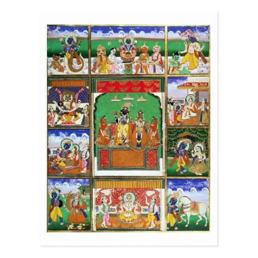 Vishnu in the centre of his ten avatars, Jaipur, R Post Card