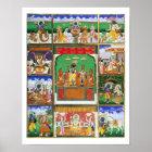 Vishnu in the centre of his ten avatars, Jaipur, R Poster