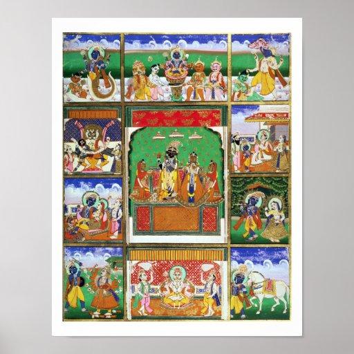 Vishnu in the centre of his ten avatars, Jaipur, R Posters