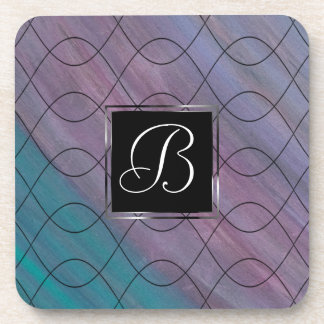 Visionary Bar | Monogram Pink Purple Teal Blue | Coaster