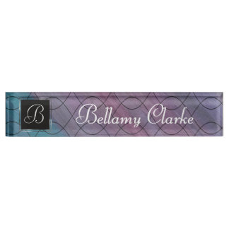 Visionary Desk | Monogram Pink Purple Turquoise Name Plate