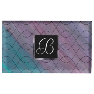 Visionary Party | Monogram Pink Purple Teal Blue | Place Card Holder