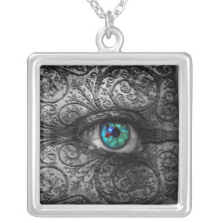 Visions In The Dark Teal Eye Pendant