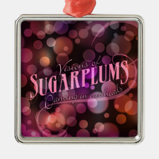 Visions Of Sugarplums Holiday Silver-Colored Square Decoration