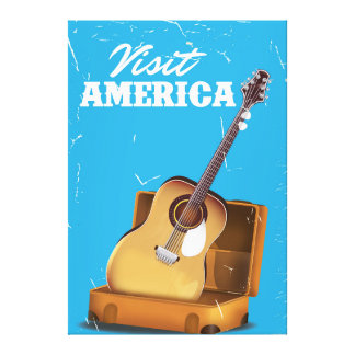 Visit america vintage travel poster gallery wrapped canvas