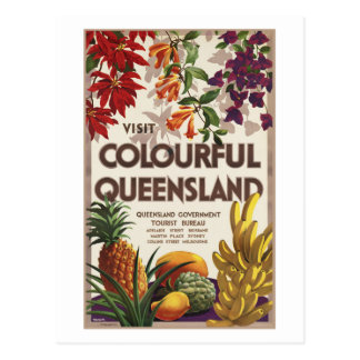 Visit Colourful Queensland Australia Postcard