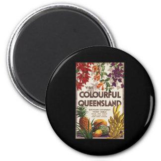 Visit colourful Queensland 6 Cm Round Magnet