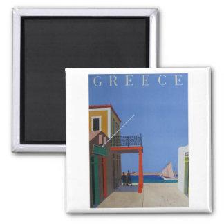 Visit Greece Vintage Poster Square Magnet