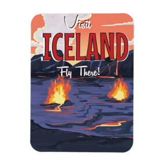 Visit Iceland vintage travel poster Rectangular Photo Magnet