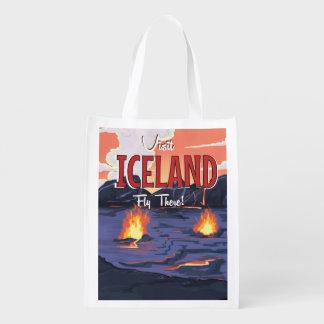 Visit Iceland vintage travel poster Reusable Grocery Bag